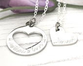 Mothers day gift, heart pendant, gifts for Mom, Mum Daughter necklace set, friends gift, silver stainless steel,