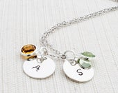 Silver Initial Birthstone Necklace, A mothers necklace, Personalised Jewellery, Silver Plated, Gift Idea
