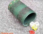 Dice Cup in Green Leather with engraved Celtic Bands.