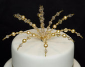 Wedding Cake Topper for DIY Cakes Decorations / other colours / Crystals and Beads / Gold Wedding