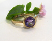 Faceted Purple Amethyst engagement solitaire ring in 18K 18ct recycled solid yellow gold