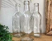 Sets of Three Six Vintage Style Clear Glass Square Bottles Small Bud Vase Wedding Table Centrepiece Venue Decoration