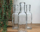 Set of 3 Vintage Style Clear Glass Bottles Small Bud Vase Wedding Table Centrepiece Venue Decoration