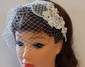Birdcage Blusher Veil, Birdcage veil with hair Fascinator Hair Accessory, wedding Lace Headband veil, Bridal hair piece, Wedding hair piece,