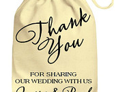 Personalized Wedding Drawstring Cotton Gift Bag Thank You For Sharing Our Wedding With Us, Personalised Wedding Bag Favors Just Married