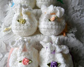 Crochet Gift Bags Lacy White Knit Wedding Party Favour Favor Blue Green Pink Purple Yellow Peach Lace Trim Rose Flower Ribbon Tie Bag