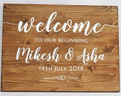 Welcome Sign, Wood Wedding Sign, Custom Wood Signs, Rustic wood plaque, Mr and Mrs name wood plaque, Wedding Gift, Vintage barn wedding