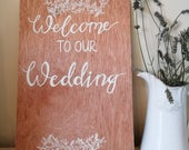 welcome to our wedding sign wooden rustic wedding signs/ wedding signs wooden hand lettering/ calligraphy