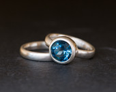 London Blue Topaz Wedding Set in Silver Blue Gem Engagement Ring and Matching Wedding Band