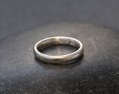 Plain Silver Wedding Band for Her Hand Made Wedding Ring in Sterling Silver