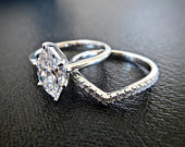 1ct Marquise promise ring, Man made diamond simulants, 925 sterling silver, Art deco engagement ring with wedding band, 925 bridal set