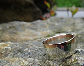 Wide Silver Band with a Red Gold Edge
