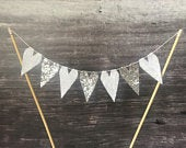Wedding cake topper, silver wedding cake bunting, 25th anniversary cake banner, engagement cake flags, bling sparkly hearts, white lace