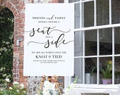Pick a Seat not a Side, Wedding Sign, Wedding Ceremony Sign, Welcome Sign, Wedding Banner