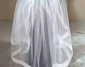 2 Tier veil with lace edging