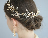 Stunning Pearl Gold Leaf Tiara, Wedding Tiara, Gold Tiara, Gold Hair Vine, Bridal Hair Vine, Prom Tiara, Tiara for Bride, Bridal Headband