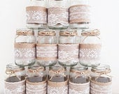 12 wedding jars, baby shower, Hessian., burlap, mixed lace, rustic centrepiece twine vase tealight country wedding table decor BRAND NEW