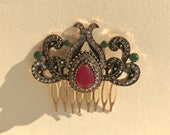 Vintage Hair Comb, Ruby Gemstone, Crystal Hair Clip, Engagement Accessory, Wedding Hair Comb, Bridal Hair Comb, Mother Hair Comb, Bridal