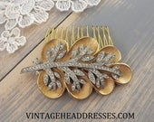 Authentic Vintage c 1940s Comb, Gold Hair Comb, Leaf Comb, Gold Bridal Hair Comb, Rustic Wedding, Floral, Gold and Silver, Wedding Comb