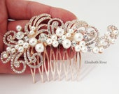 Rose Gold Wedding Hair Comb, Pearl Hair Jewelry for Wedding, Rose Gold Bride Hair Comb, Pearl Hair Comb, Rose Gold Art Deco Bridal Hair Comb