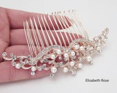 Pearl and Rose Gold Wedding Hair Comb, Princess Style Pearl Hair Jewellery for Wedding, Large Rose Gold Hair Comb for Bride, Wedding Comb