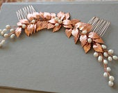 Rose gold bridal hair comb, leaf wedding hair comb ,freshwater pearl bridal headpiece, pearl hairpiece , wedding hair accessory UK