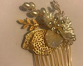 Small 5.5cm, 2.17 Inches Wide, High Quality Gold Tone Wire Comb, Wedding Leaf Flower Bridal Hair Comb, Metal Comb, 1 piece