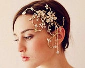 Wedding Hair Accessories, Bridal Gold Color Hair Comb, Wedding Hair Piece, Swarovski Hair Accessory, Bride Headpiece, Swarovski Hair Piece