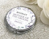 Personalised MOTHER of the GROOM compact mirror wedding gift, floral handbag mirror CARRL2