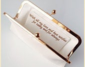 personalised bridal clutch, wedding clutch purse, ivory and gold clutch bag for the bride with special message