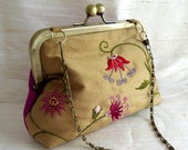 Silk Party Purse, Evening Bag, Bridal Clutch, Hand Embroidered Gold Silk, Flower Design, Silk Lined, Antique Bronze Kisslock Frame, Chain
