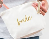Custom Bride Cosmetic Bag With Faux Leather Tassel Bridal Shower Gift Bride Gift Personalized Makeup Bag Purse Organizer