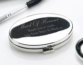 Engraved Maid Of Honour Oval Compact Mirror Engraved Compact Mirror Personalised with Any Message Wedding Gifts