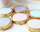 Personalised compact mirrors Bridesmaid Thank you Wedding gift 6 colours to choose birthday Mother of the bride Friendship gift