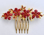 Small Red Gold Pearl/Diamante Flower Chinese Wedding Hair Comb/Hair Accessory/Hair Pin