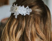 Wedding Bridal hairpiece, fascinator, White,Ivory Vintage inspired lace hair comb, bridal accessory, White lace Hair Comb, Rhinestone pearl