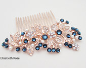 Navy and Rose Gold Wedding Hair Comb, Navy Crystal Hair Comb for Bride, Navy Blue Colour Hair Comb, Navy Wedding Hair Comb