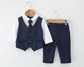 Baby Boy Christening Wedding Formal 2pc Outfit Set with Matching Tie and Bow Tie