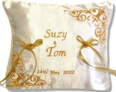 New Personalised Embroidered Satin Wedding Bearer Ring Cushion Pillow Gold ivory or any other bespoke colour
