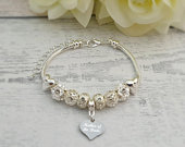 SanaBelle Mother of the Bride Personalised Engraved Wedding European Charm Bracelet