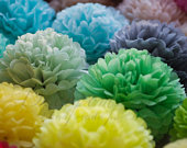 Paper pom pom set of 21 Tissue paper balls Colourful paper flowers Birthday decorations