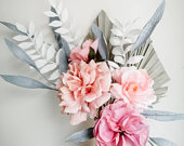 Wedding bouquet, paper flowers, pink and purple blooms, wild boho, dried palm sun spears, artificial flowers, bridesmaids, flower girl
