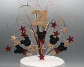 Cake Topper Spray Cake Decoration Minnie Mickey Mouse Glitter Birthday Cake 1st 2nd 3rd 4th 5th 6th any age any colour Personalised 005