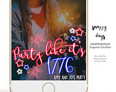 SNAPCHAT Geofilter 4TH of JULY, Custom, Independence Party Birthday, Wedding Custom to any event Any Text can be Added Fireworks
