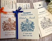 Passport invitations with invitation booklet and boarding pass RSVP/ available in a variety of colours