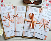 Rose Gold Sparkle Passport Wedding Invitation SAMPLE, boarding pass RSVP, destination wedding, plane ticket invite.