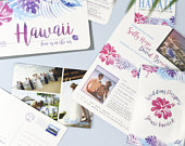 Hawaii Wedding Stationery Set of Luggage Tag Save the Date, Ticket and Passport Invites, Postcard Thank You Cards