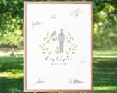 Portrait Guest Book Personalised, Custom Guest Book Sign, Alternative Wedding Guest Book Illustration, Wedding Guestbook Poster, UNFRAMED