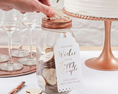 Wishing Jar Guest Book Alternative, Wedding Wishing Jar, Hen Party Bridal Guestbook, Baby Shower Wishing Jar, Copper Lid and Wooden Hearts