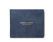 Blue Leather Guest Book with Debossed Text Gold foil or silver foil available Leather Wedding Photo Album